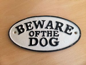 Cast Iron Sign: Beware of the Dog